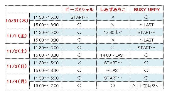 イベントシフト表